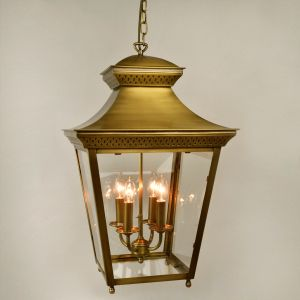 Mayfair Large Square 4 Light Antique Brass Hanging Ceiling Lantern