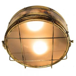 Freighter Bulkhead Solid Copper and Brass 2 Light Flush Lamp