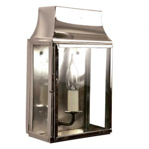 Strathmore Nickel Plated Solid Brass 1 Light Exterior Wall Lantern