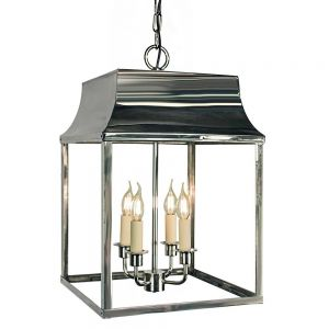 Strathmore Nickel Plated Solid Brass 4 Light Hanging Lantern