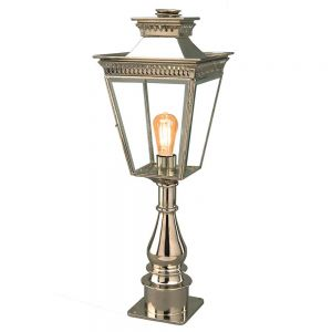 Pagoda Nickel Plated Solid Brass Outdoor Pillar Lantern