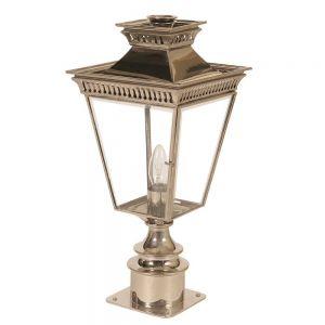 Pagoda Nickel Plated Solid Brass Outdoor Short Pillar Lantern