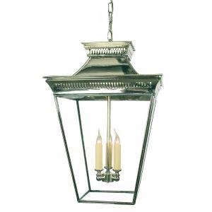 Pagoda Nickel Plated Solid Brass Lantern Large