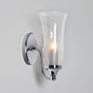 Biarritz IP44 Polished Chrome Bathroom Wall Light with Glass Shade