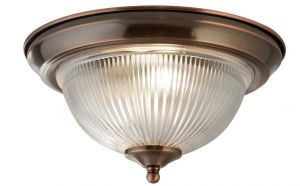 2 Light Antique Brushed Copper IP44 Bathroom Flush Ceiling Light with Clear Ribbed Glass Shade