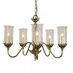 Gothic Solid Brass 5 Light Pendant With Clear Glass Shades