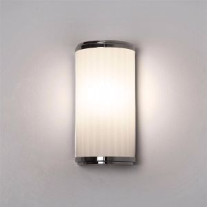 Monza IP44 Polished Chrome Bathroom Wall Light with Ribbed Glass