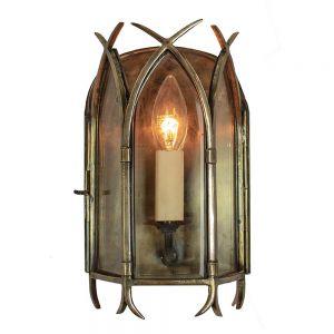 Gothic 1 Light Solid Brass Wall Lantern