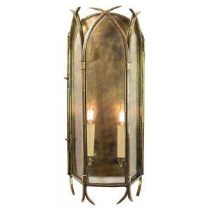 Gothic Solid Brass 2 Light Wall Lantern