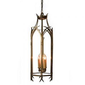 Gothic Solid Brass 3 Light Large Hanging Lantern