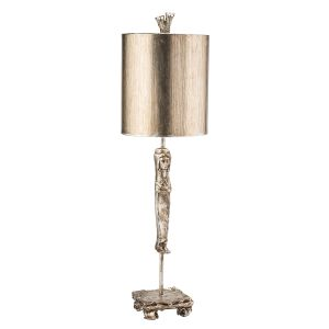 Flambeau FB/CARYATID-S 1 Light Aged Silver Table Lamp