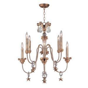 Flambeau FB/MIGNON8 8 Light Gold/Silver Chandelier with Crystals