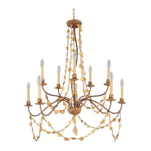 Flambeau FB/MOSAIC10 10 Light Gold Jewel Chandelier