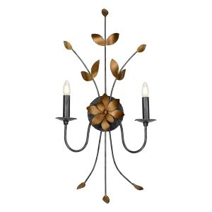 Flambeau FB/SIMONE2 2 Light Gun Metal and Gold Wall Light