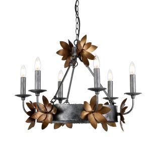 Flambeau FB/SIMONE6 6 Light Bronze and Gold Ceiling Pendant