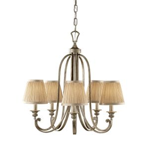 Abbey 5 Light Silver Sand Finish Chandelier