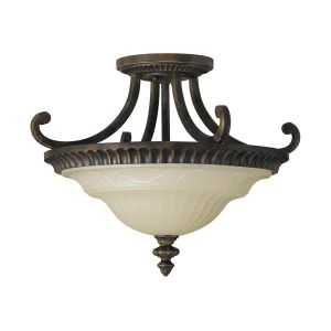 Drawing Room Walnut Semi Flush Light