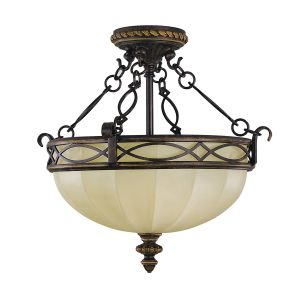 Drawing Room Walnut Bowl Semi-Flush Light