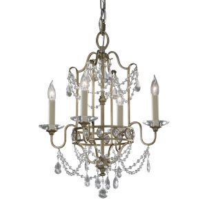 Gianna 4 Light Gilded Silver & Crystal Chandelier