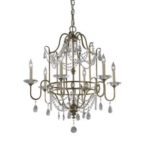 Gianna 6 Light Gilded Silver & Crystal Chandelier
