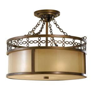Justine 3 Lt Semi Flush Astral Bronze Light