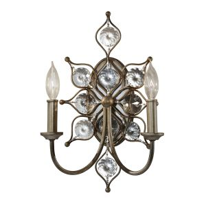 Leila 2 Light Burnished Silver/Crystal Wall Light