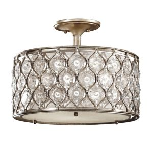 Lucia 3 Light Burnished Silver Semi Flush Light