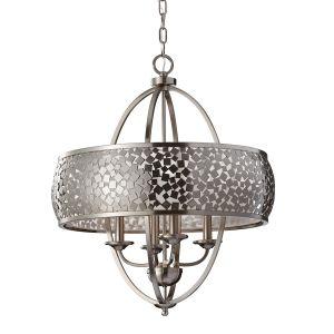 4 Light Brushed Steel Ceiling Pendant