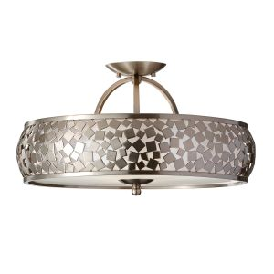 Zara 3 Light Brushed Steel Semi Flush Pendant