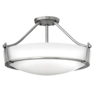 Hathaway 3 Light Semi Flush Ceiling Mount Light In Antique Nickel