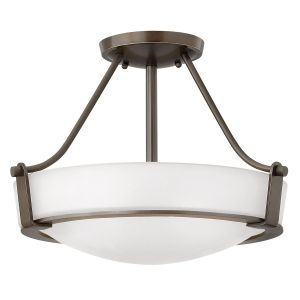 Hathaway 3 Light Semi Flush Ceiling Mount Light In Olde Bronze