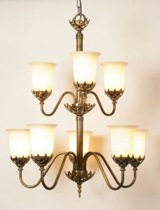 Gothic Solid Brass 8 Light Pendant With Glass Shades
