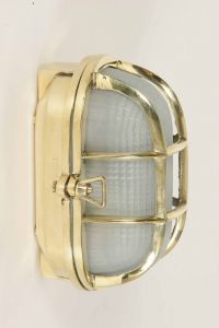 Oval Ships Bulkhead Solid Brass 1 Light Flush Exterior Lamp
