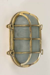 Large Oval Ships Bulkhead Solid Brass 1 Light Flush Exterior Lamp