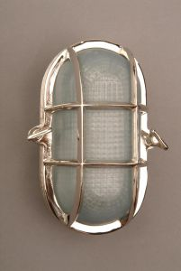 Oval Ships Bulkhead Nickel Plated Brass 1 Light Flush Exterior Lamp