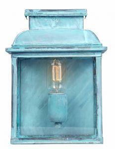 EC4 Solid Brass Outdoor Wall Lantern, Verdigris