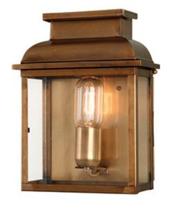 EC4 Solid Brass Outdoor Wall Lantern, Antique Brass