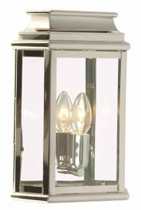 WC2 Solid Brass Outdoor Wall Lantern, Nickel