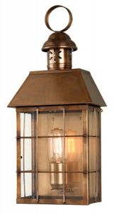W2-2 Solid Brass Outdoor Lantern, Antique Brass