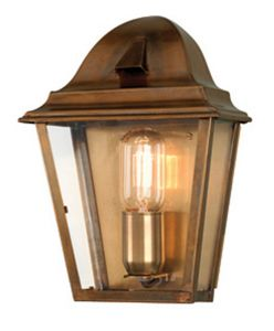 SW1-2 Solid Brass Outdoor Lantern, Antique Brass