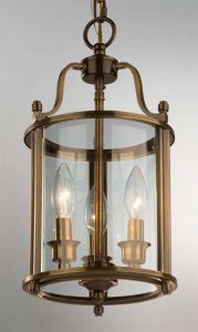 Hakka Small Antique Brass Hall Lantern with 3 Lights