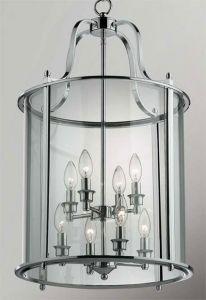 Hakka Large Chrome Hall Lantern with 8 Lights