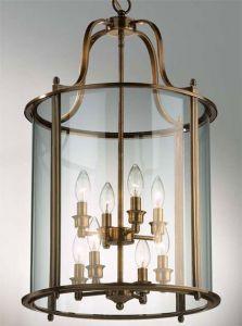 Hakka Large Antique Brass Hall Lantern with 8 Lights