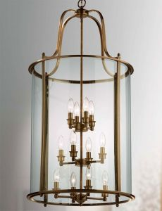 Hakka Giant Antique Brass Hanging Hall Lantern with 12 Lights