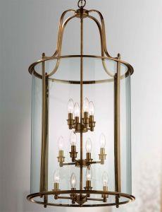 Hakka Giant Antique Brass Hanging Hall Lantern with 12 Lights