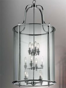 Hakka Giant Chrome Hall Lantern with 12 Lights