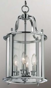 Hakka Medium Chrome Hall Lantern with 4 Lights