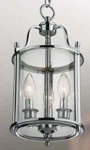 Hakka Small Chrome Hall Lantern with 3 Lights