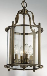 Hakka Medium Antique Brass Hall Lantern with 4 Lights