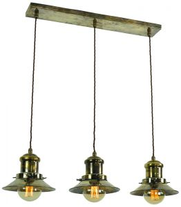Solid Brass Vintage Ceiling Pendant Light in Antique Brass